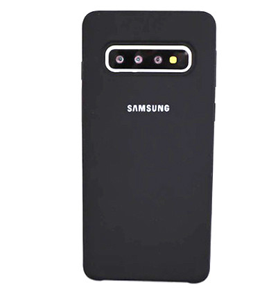 Оригинальный силиконовый чехол для Samsung Galaxy S10 Plus G975 2019 Silicone Cover (Темно-серый)
