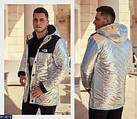 "Мужская стильная осень-зима-весна куртка ""the north face"" (100% нейлон плотная плащевка) цвет-silver"