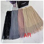 Женские фатиновая юбка-плиссе с пайетками (в расцветках), фото 5