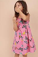 Летнее трикотажное платье из хлопка для девочки 2-4-6 лет. Butterflies, розовый Бренд: H&M, фото 1