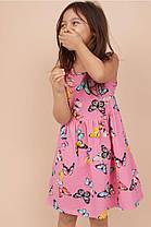 Летнее трикотажное платье из хлопка для девочки 2-4, 4-6, 6-8 лет. Butterflies, розовый Бренд: H&M