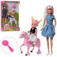 Кукла DEFA 8399-BF 29см, дочка 10см, лошадь 11см, расческа, 2 вида, в кор-ке, 19-31-5,5см(DEFA 8399-BF)