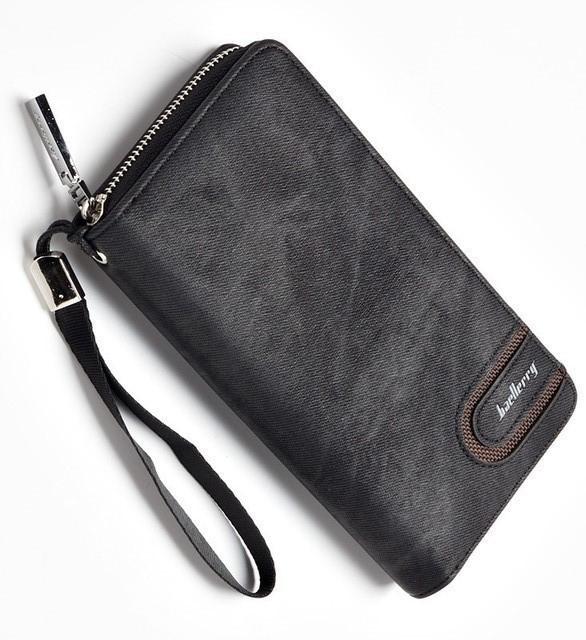 Кошелек мужской, портмоне Baellerry S1514 black, чёрный с серым