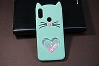 Чехол бампер силиконовый Xiaomi Redmi Note 7 Ксиоми Сяоми Ноут Ноте 3D Кошачьи ушки цвет бирюзовый Soft-touch
