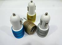 Автомобильное зарядное устройство 12V 2 USB (выбор цвета)