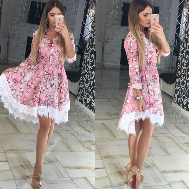 Модное летнее платье клеш из хлопка Розовый