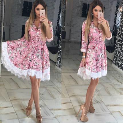 Модное летнее платье клеш из хлопка Розовый, фото 2
