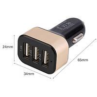 Автомобильное зарядное устройство 12V 2 USB 3 в 1