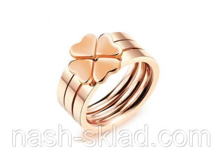 """Кольцо розовое золото """"Клевер"""" 8, фото 2"""