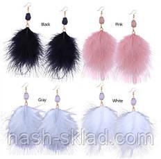 Серьги с перьями страуса, фото 3