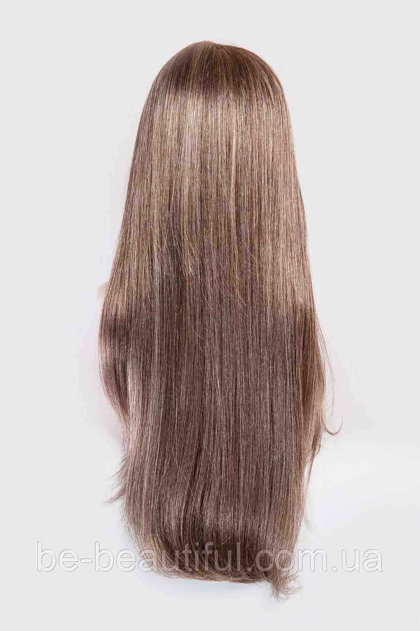 Длинный ровный парик №10,цвет белый с каштановым мелированием