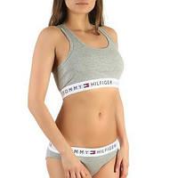 Женский спортивный комплект Tommy Hilfiger Томми Хилфигер топ и слипы трусики белый реплика S, белый