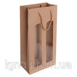 """Пакет подарочный бумажный под бутылку двойной """"Craft"""" 12шт/уп 18.5*38*9см R15976 (480шт)"""