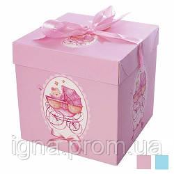 "Коробка подарочная картонная ""Коляска"" 22*22*22см N00379 (240шт)"