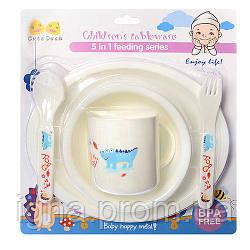 Посуда детская пластик 5пр/наб (2 тарелки, чашка, вилка, ложка) R83620 (54шт)