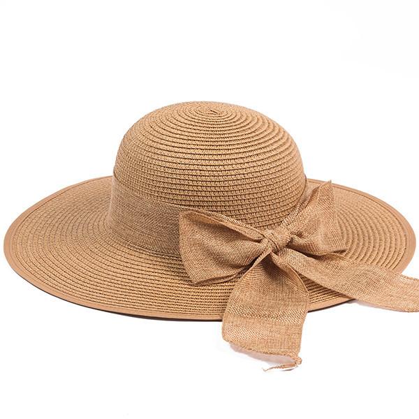 Шляпка пляжная с бантом из соломки цвет коричневый