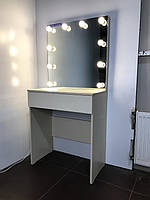 Комплект гримерный 700×400×800 мм. Гримерное зеркало с подсветкой. Гримерный комплект. Мебель под заказ.