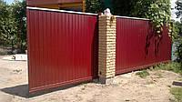 Ворота откатные из профнастила 3500 х1800, содной стороны