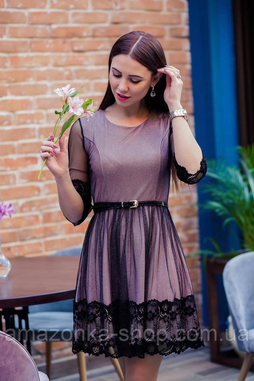 Стильное праздничное платье в сетку для девушек - 2019  - Код пл-506