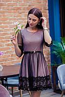 Стильное праздничное платье в сетку для девушек - 2019  - Арт пл-506, фото 1