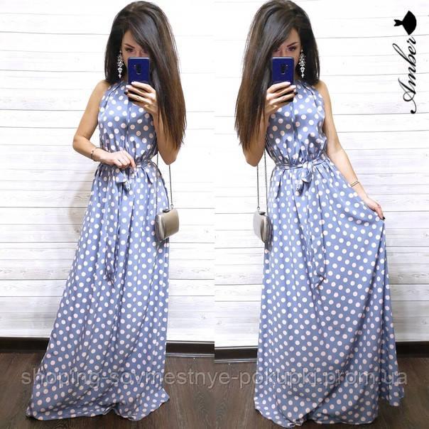 ccdf94cfef7 Длинное летнее платье в горошек + большой размер купить в Украине ...