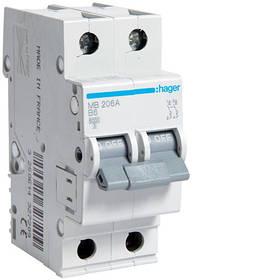 Автоматичні вимикачі (характеристика B) Hager 2-полюсні