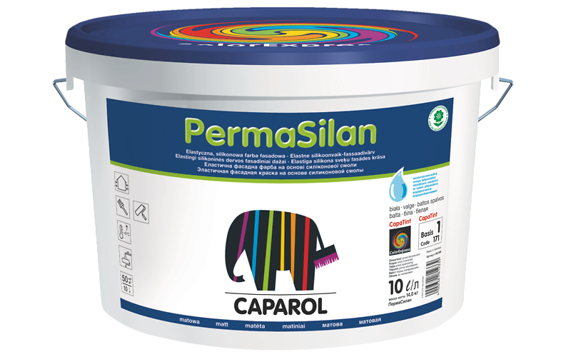 PermaSilan 10л, эластичная силиконовая краска. Для перекрытия микротрещин в штукатурном слое.