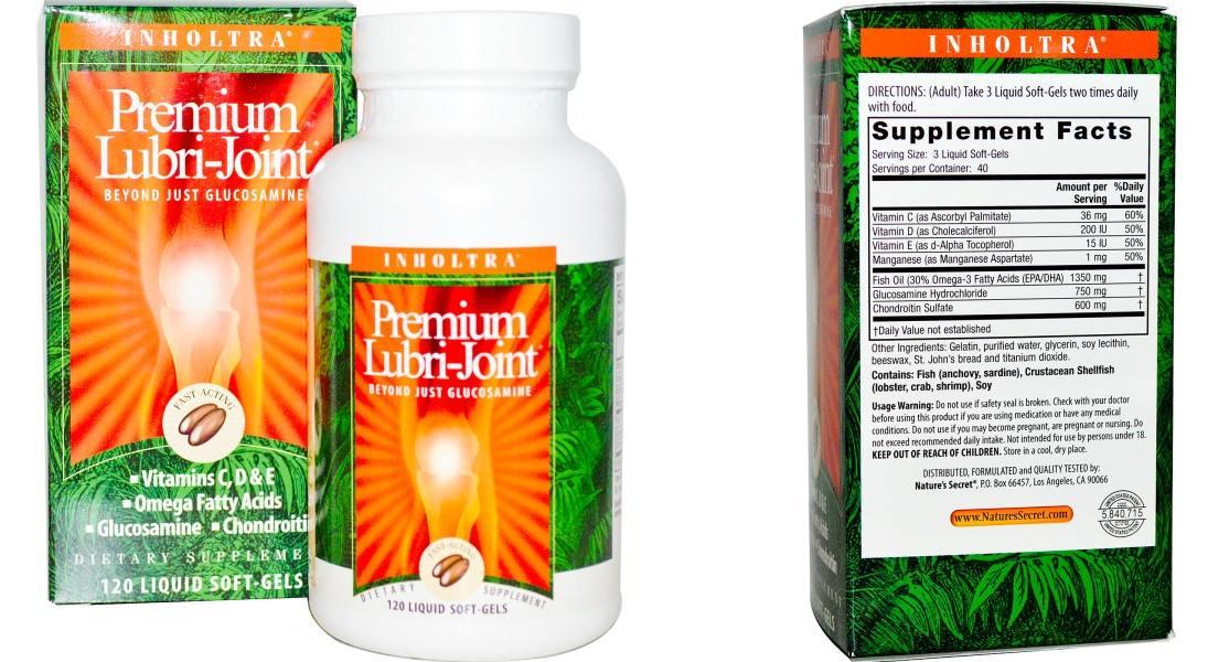Глюкозамін і хондроїтин, Inholtra, Premium Lubri-Joint, 120 soft gel