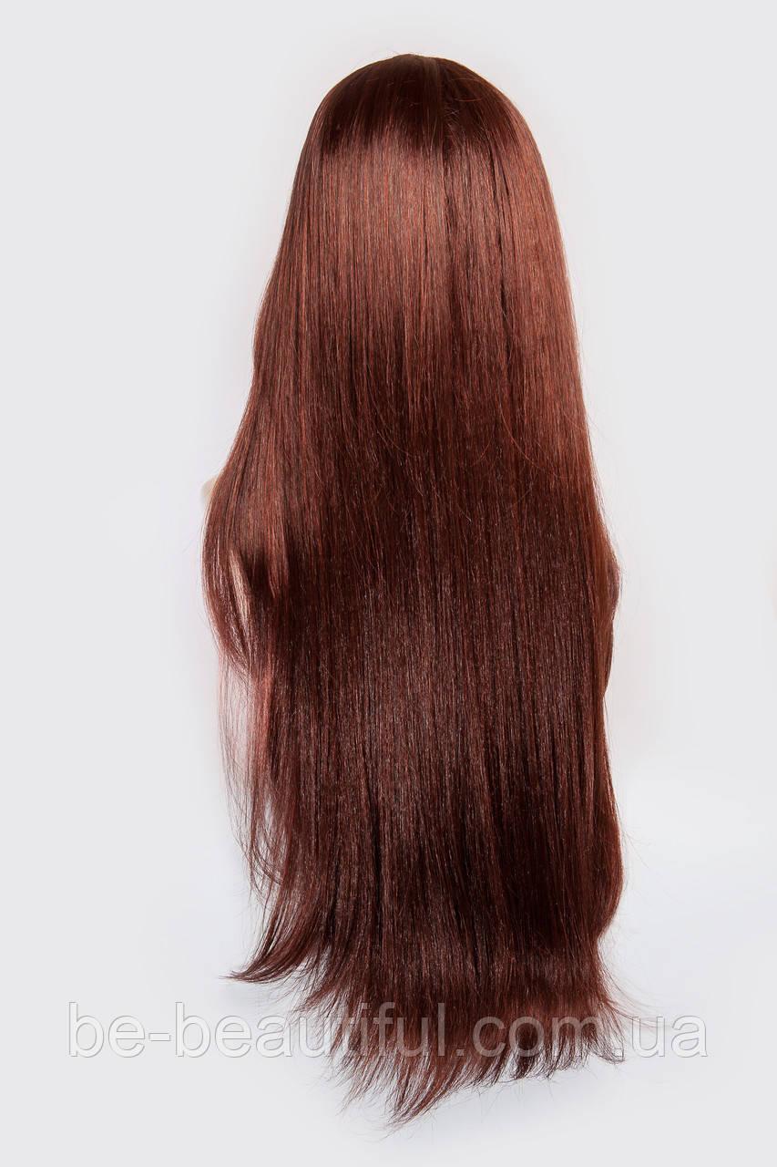 Длинный ровный парик №10,цвет каштан с яркой краснинкой