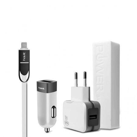 Дорожный набор Havit HV-ST801 iphone/micro usb, white/gray