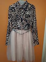 Платье нарядное подростковое  тигровое фатиновая юбка, с карманом, с пояском. воротник стойка