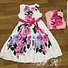 Платье яркий цветочный принт, ткань: атлас  Размер: С,М. Цвет: белый (6304), фото 2