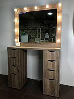 Гримерный комплект двухтумбовый 1100х450х1000мм. Гримерное зеркало с подсветкой. Гримерная станция.