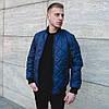 Мужская спортивная стеганая куртка темно-синяя
