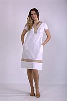 / Размер 42-74 / Женское белое легкое льняное платье 01155