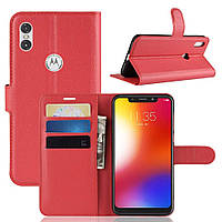 Чехол-книжка Litchie Wallet для Motorola Moto One Power Красный