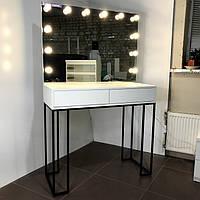 Гримерная станция на металлических ножках 1 100×460×1 000 мм.Гримерное зеркало с подсветкой. Гримерный столик.