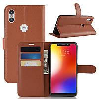 Чехол-книжка Litchie Wallet для Motorola Moto One Power Коричневый, фото 1