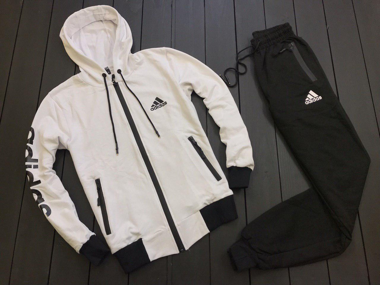 e459953d33b Спортивный костюм мужской в стиле Adidas весенний   осенний   летний черно- белый - Интернет