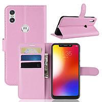 Чехол-книжка Litchie Wallet для Motorola Moto One Power Светло-розовый, фото 1