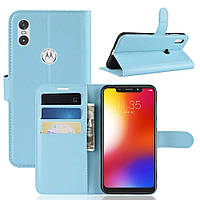 Чохол-книжка Litchie Wallet для Motorola Moto One Power Блакитний