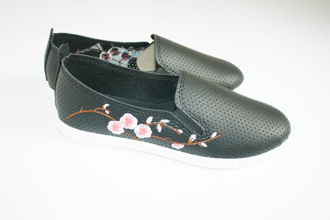 Женские мокасины (Код: 1015 черн-роз )