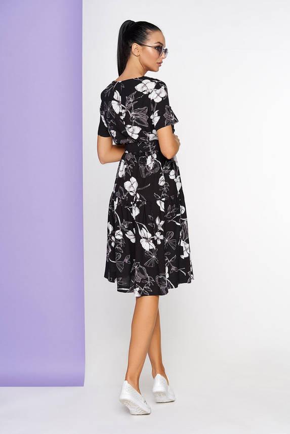 Летнее платье хлопковое с коротким рукавом черное, фото 2