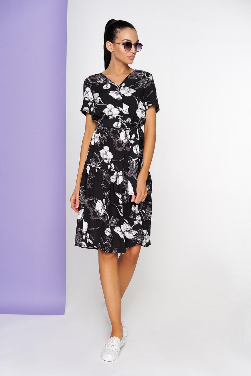 Летнее платье хлопковое с коротким рукавом черное