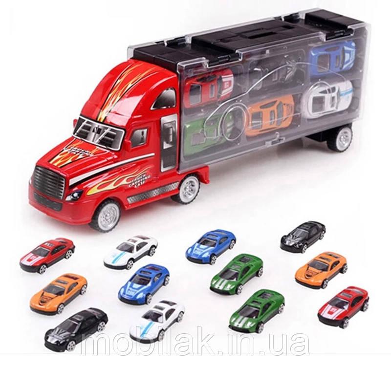Набор - большой грузовик-контейнер и 12 машинок