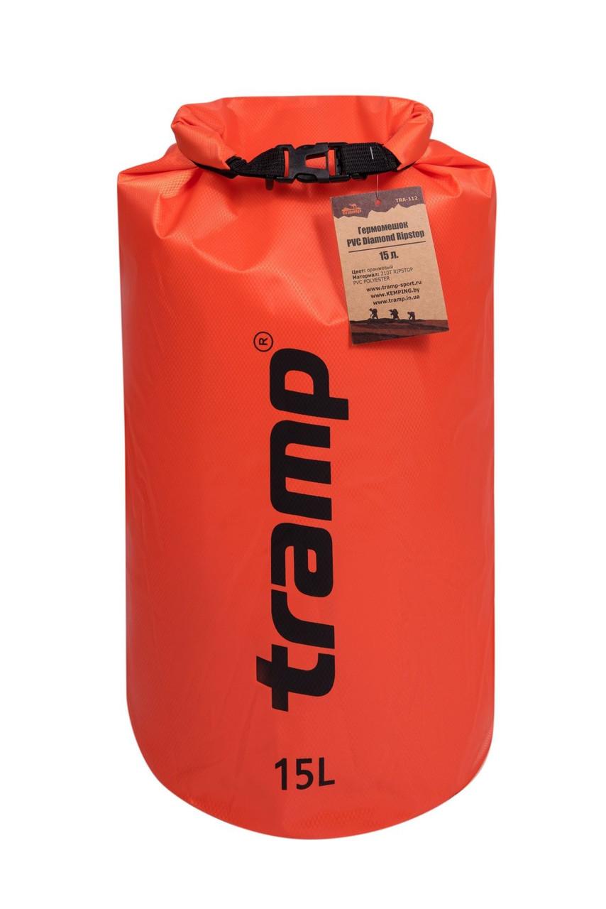 Гермомішок Tramp PVC Diamond Rip-Stop помаранчевий 15 л. гермомешок. Водонепроницаемая упаковка