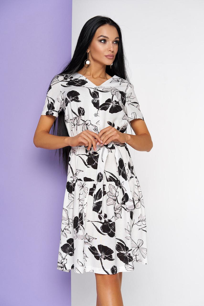 Летнее платье хлопковое белое с коротким рукавом