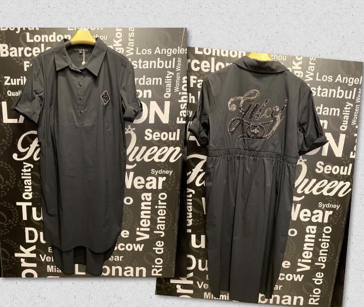 Платье-рубашка со стразами в стиле Gucci Батальная серия! черное
