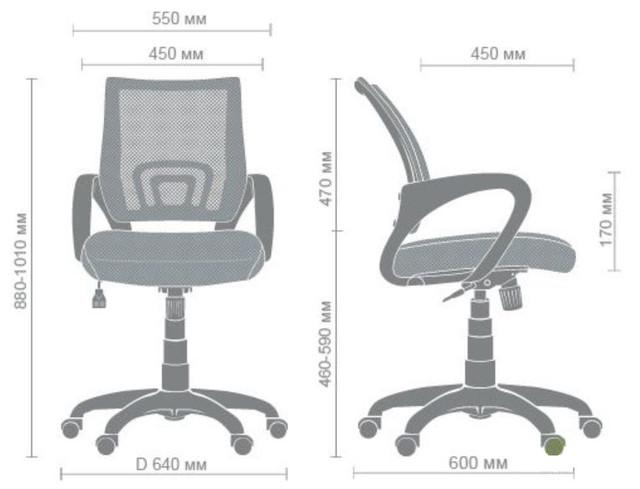 Кресло Веб сиденье Сетка черная-спинка Сетка синяя (Фото 9)