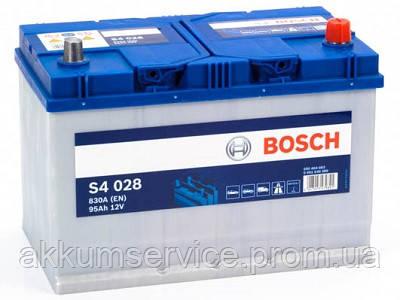 Аккумулятор автомобильный Bosch S4 Silver Asia 95Ah R+ 830A евро (S4 028)